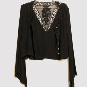 All black embroidered top by Double Zero
